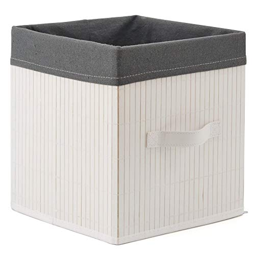 EZOWare Decorative Multi-Purpose Bamboo Storage Organizer Cube Bin with Removable Grey Liner 10.5 x 10.5 x 11 inch for Nursery, Bathroom, Bedroom, Office - White/Medium