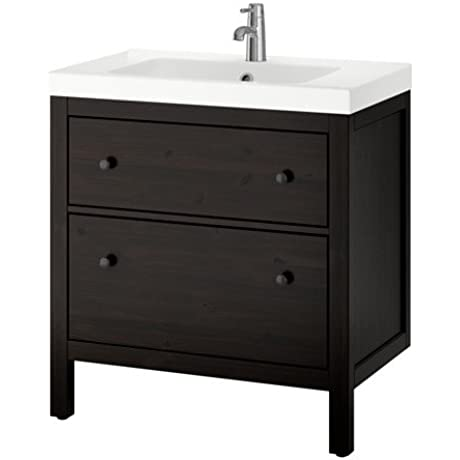 Ikea Sink Cabinet With 2 Drawers Black Brown Stain 31 1 2x19 1 4x35