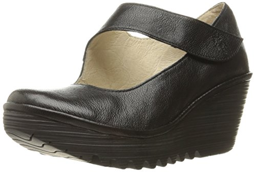 FLY London Women's Yasi Wedge Pump, Black Mousse, 36 EU/5.5-6 M US by FLY London