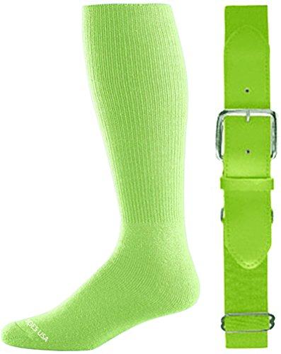 Joe's USA(tm) Baseball/Softball Belt & Sock Combo-Neon Green-Intermediate