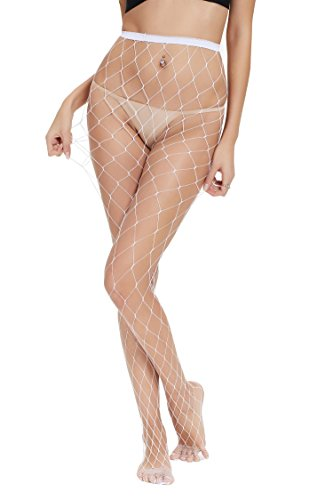 Abollria Girls Ladies Large Hole White Fishnet Stockings Tights Pantyhose One -
