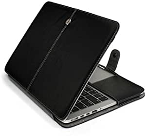 PU Leather Laptop Sleeve Bag Case Cover For Macbook Pro 15 Inch Black
