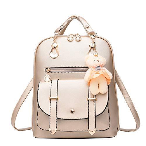KIMODO Bag gold Color Women Shoulder S School Leather Bag Pure Satchel Backpack Trave 1wUrfq1F