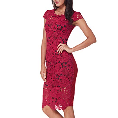 e821ce356e Fashion Women Wrap Dress Solid O-Neck Short Sleeve Bodycon Dress Lace  Hollow Pencil Skirt