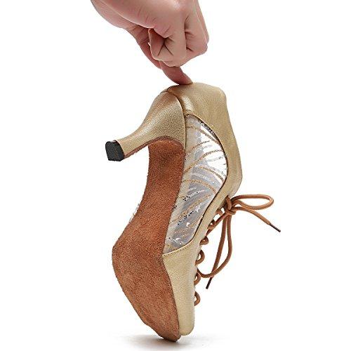 Minishion Femmes Lacets Maille En Cuir Latine Chaussures De Danse Sandales De Cheville Or-7.5cm Talon