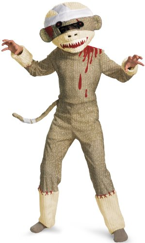 Sock Costume Monkey (Disguise Zombie Sock Monkey Boys Costume,)