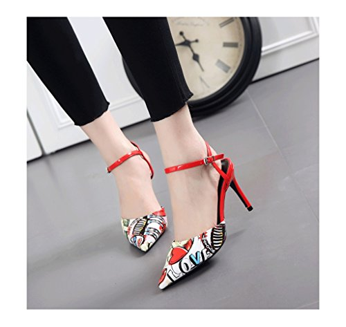 37 Summer Shallow Color Pointed Sandals Heel Mouth Feminine Size Red Sexy Stiletto Toe W6wnqUq1