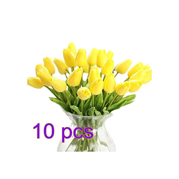UHBGT 10pcs Fashion Real-touch Artificial Fake Tulip Flowers for Home Office Wedding Party Decor 12inch Yellow