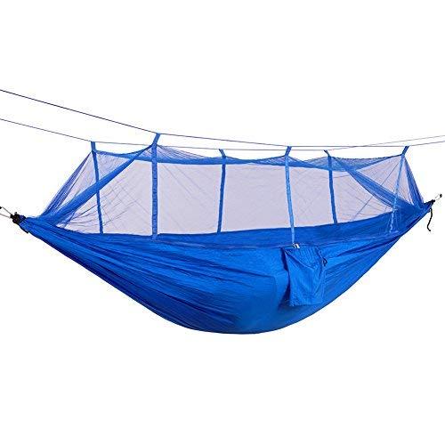 ダブルハンモックポータブルアウトドアガーデンMosquito Netハングベッド旅行キャンプスイングサバイバルHangmatパラシュート ブルー  ブルー B07BNJ8N7L