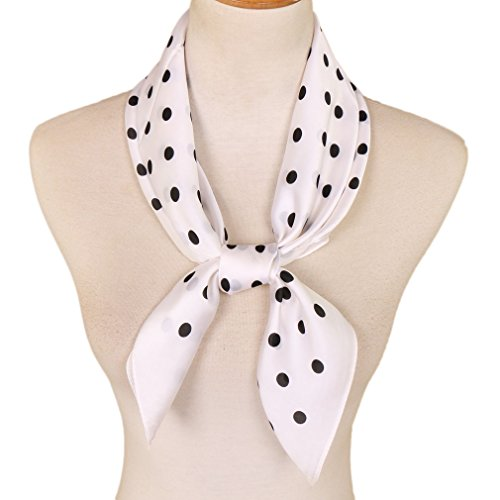LMVERNA white square scarf polka dot square scarf white women plain polyester lightweight scarves 27 by 27 Inch (Dot-white)