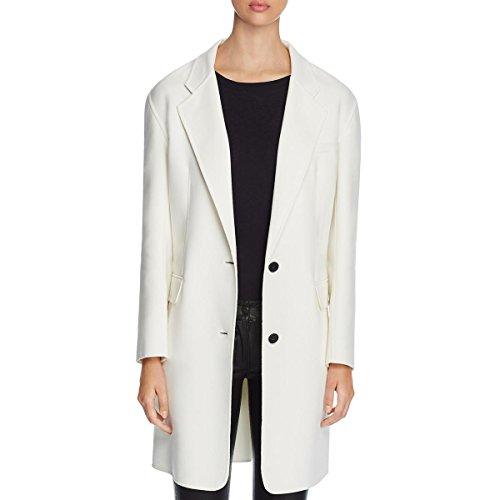 DKNY Womens Drop Shoulder Long Sleeves Long Coat Ivory (Dkny Nylon Coat)