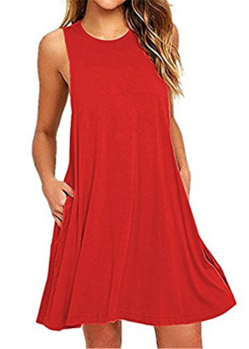 sandals Henwei Women's Sleeveless Casual Loose Tank Summer Dress Red M