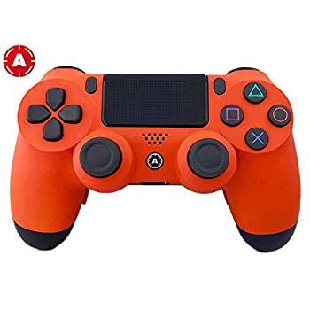 Image of Games PS4 Slim Wireless Controller for Playstation 4 - Custom AimController Orange Matte with 4 Paddles. Upper Left Square, Lower Left X, Upper Right Triangle, Lower Right O