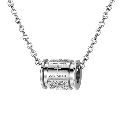 Molike Stainless Steel English Lord's Prayer Cross Cylinder Pendant Necklace for Men Women, 22