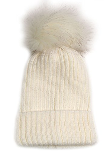Women's Fashion Beanie Hat with Pom Pom SCH1101 (OffWhtWht)
