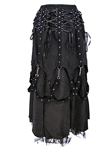 Dark Star Black Gothic Medieval Vampire Punk Chains Long Skirt M-2X Plus Size by Darkstar