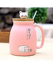 TOOGOO sesam kat hittebestendige mok kleur cartoon met deksel caetchen melk koffie keramische mok kinderen Cup buero geschenken (blauw)