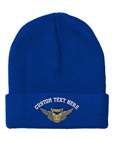 Custom Text Embroidered Aircrew Medal Unisex Adult Acrylic Beanie Skully Hat - Royal Blue, One (Air Medal Hat)