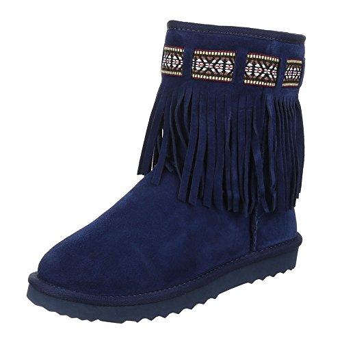 Ital-Design - botas estilo motero Mujer Azul