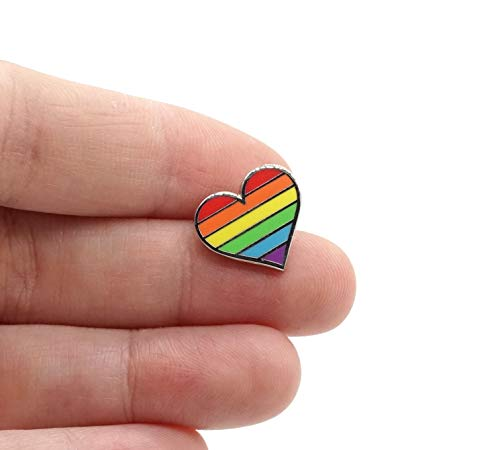 Compoco Tiny Pride Pin LGBTQ Gay Heart Flag an Enamel Pin Decoration for Clothes and Bags