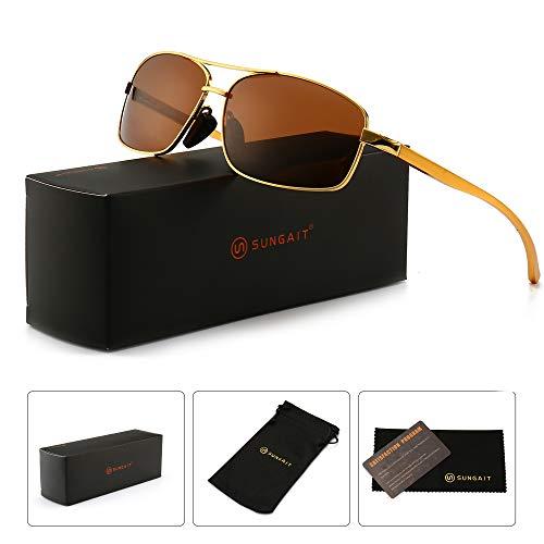 (SUNGAIT Ultra Lightweight Rectangular Polarized Sunglasses 100% UV protection (Gold Frame Brown Lens, 62) Metal Frame 2458)