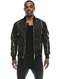 Angel Cola Men's Nylon Bomber Flight Jacket with Gold Zippers