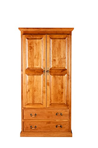 Forest Designs Traditional Wardrobe: 60W X 72H X 21D w/ Two Drawers Unfinished Oak