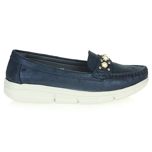 Chaussures Semelle Confort Doux Femmes Taille Bleu Bureau Flaneur Mocassins Dames Glisser Flexible Travail Sur De TxFF75n