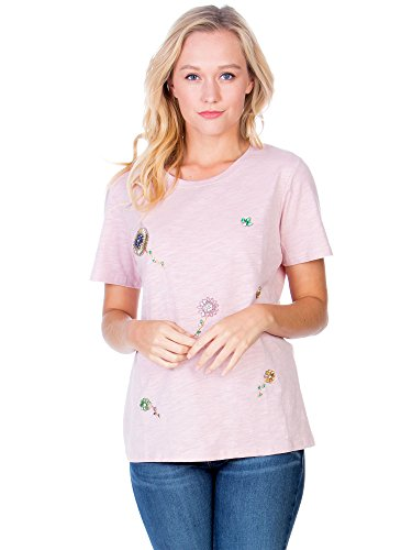 - Fashion California Womens Pearl Beaded and Stitched Flower Top (Large/X-Large, Dusty Rose)
