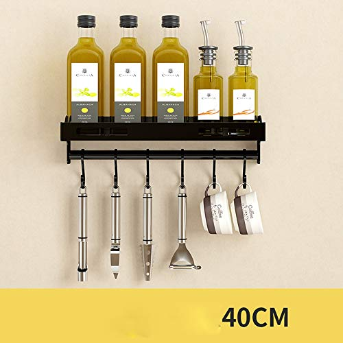 - HUO Kitchen Rack Wall-Mounted Seasoning Storage Rack Black Wall Space Saving Rod Multifunction (Color : A, Size : 40cm)