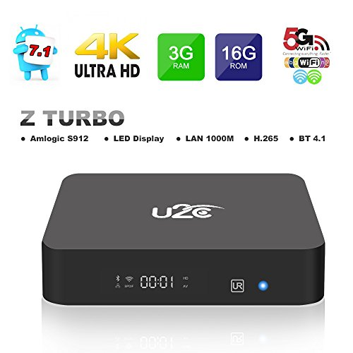 2017 Model Android 7.1 TV Box KUD Z Turbo Amlogic S912 3G RAM 16G ROM Octa Core 3D 4K 2.4G 5G Dual-Band Wifi with LED Display Gigabit 1000M LAN Ethernet by KUD