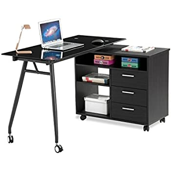 portable office desks. this item proht lshape black glass portable office desk 05007a computerpclaptop desktableworkstation w drawers and wheels chocolate u0026 charcoal desks