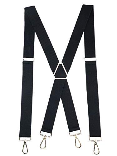 Romanlin Suspenders for Men Elastic X Back 4 Metal Swivel Hook Clip End Adjustable Black
