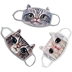 Cute Unisex Adults Youth Vivid 3D Cat Face Soft Breathable Activated Carbon Cotton Fleece Anti Dust Earloop Mouth Face Warm Mask Dustproof Windproof Warmer Masks Healthy Air Filters Set of 3pcs Gift