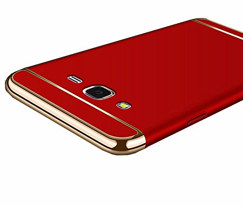 Galaxy Grand Prime Case, Ranyi [3 in 1 Hybrid] [Anti-slip] [Metal Texture] Slim Fit Full Body Design Metal Painting Bumper + Matte Hard Back Cover Case for Samsung Galaxy Grand Prime, red