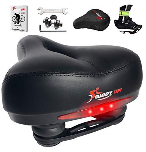 Giddy Up! Bike Seat - Most Comfortable Memory Foam Waterproof Bike Saddle, Universal Fit, Shock Absorbing including Mounting Wrench - Allen Key - Reflective Band and Waterproof Protection Cover (Most Comfortable Sport Bike For Long Rides)