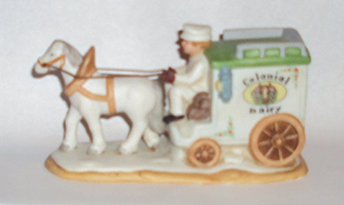 1993 Geo Z Lefton 00976 Colonial Village Colonial Dairy Horse Drawn Wagon Figurine