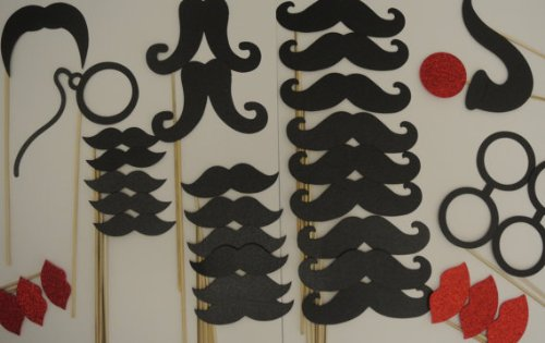 34 Pc Photo Booth Party Props Mustache on a Stick Mustaches Black -