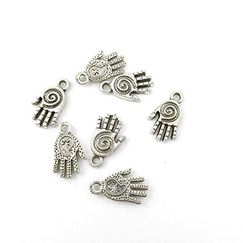 (10 Pieces Jewelry Making Charms NXPI08 Spiral Hand Pendant Ancient Silver Findings Craft Supplies Bulk)