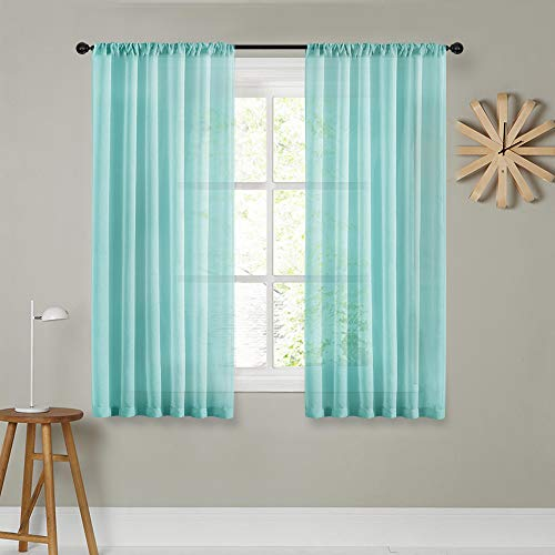 MRTREES Sheer Curtains 63 inches Long Aqua Blue Living Room Curtain Sheers Bedroom Solid Voile Panels Drapes Rod Pocket Light Filtering Window Treatments 2 Panels ()