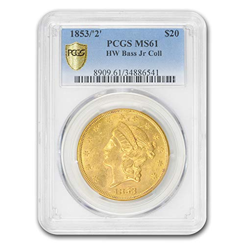 1853/2 $20 Liberty Gold Double Eagle MS-61 PCGS (HW Bass Jr.) G$20 MS-61 PCGS