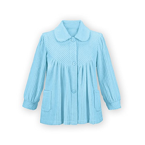 Women's Soft Fleece Button Down Night Shirt with Pockets - Comfy Flattering Fit Over Pajamas or Nightgown, Light Blue, Medium