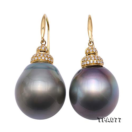 Tremendous 16.5-17mm Oval Tahitian Pearl Earrings in 18k Gold & Diamonds