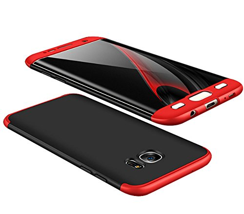 Price comparison product image Samsung Galaxy S7 Edge Case Vanki 3 in 1 Hard PC Full Coverage Protective Cover (Red+Black)