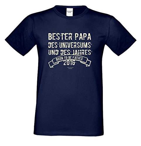 T-Shirt - Bester Papa des Universums Navy - lustiges Sprüche Shirt für Väter mit Humor - Geschenk Set zum Vatertag