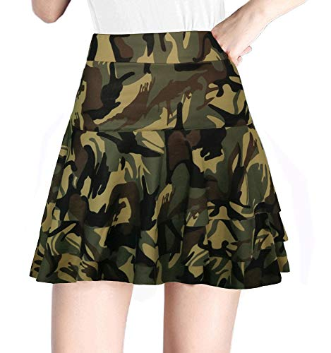 Afibi Stretchy Flared Ruffle Layered Mini Skater Skirts for Women (Large, Green Camouflage 3)
