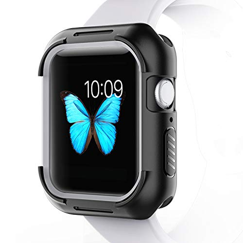 Pobon Compatible with Apple Watch 44mm Case, All-Around Shock-Proof TPU Bumper Cover Protector Case Fit for iWatch Series 4 44mm (Black-Grey)