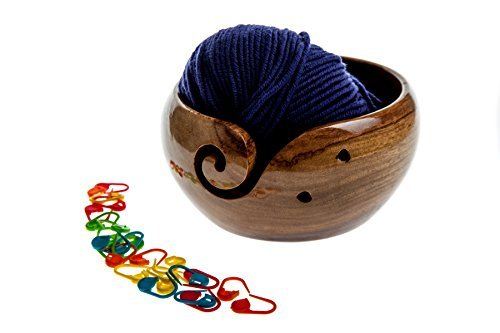 Veradura Jumbo 6'' x 3'' Inch Wooden Yarn Bowl Holder - Ideal for Wool Knitting or Crochet - Complete with Storage Bag and 25 Piece Plastic Knit Markers Set