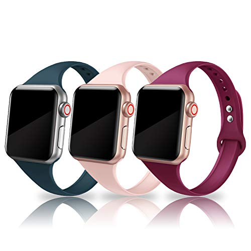 SWEES Sport Band Compatible with Apple Watch 38mm 40mm, 3 Packs Narrow Soft Silicone Slim Thin Small Replacement Wristband for iWatch Series 4, Series 3, Series 2, Series 1, Sport Edition Women Men