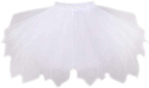Vivianu - Falda elástica de 4 capas, para mujer, con capa corta de ...